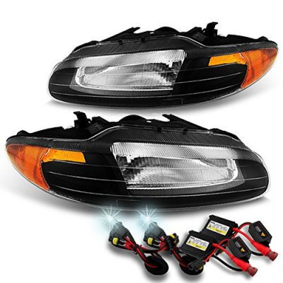 For Chrysler Sebring Convertible OE Replacement Black Bezel Headlights Driver\Passenger + 6000K HID