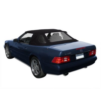 Mercedes Benz SL R129, 1990-2002 Complete Convertible Top with 3 Plastic Windows and Haartz Stayfast Cloth, Black