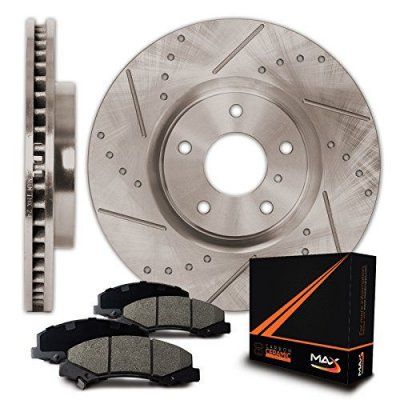 Rear Premium Slotted & Drilled Rotors and Ceramic Pads Brake Kit KT069832 | Fits: 2005 05 2006 06 Chrysler Sebring Convertible Models w\ Rear Disc Brakes