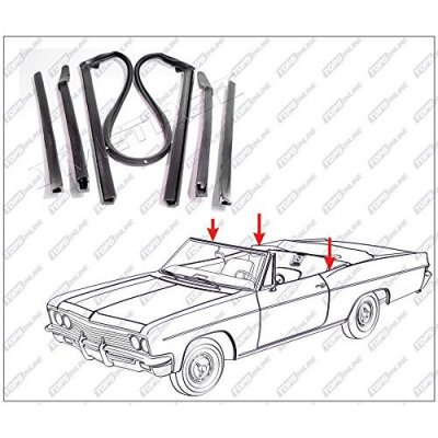 1964 thru 1965 Chevy Chevelle & Malibu--5 Piece Convertible Top Frame Weather Seals Kit