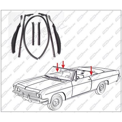 1961 thru 1964 Oldsmobile Dynamic, Jetstar, Starfire, & Super 88--7 Piece Convertible Top Frame Weather Seals Kit