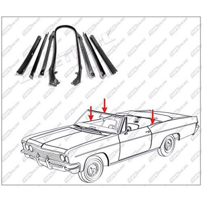 1966 thru 1967 Chevy Chevelle & Malibu--7 Piece Convertible Top Frame Weather Seals Kit