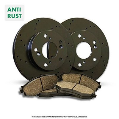 Front Rotors + Ceramic Pads^^-Black Zinc Drilled^^-Fits:-2003 03 Saab 9-3 SE Convertible Models w\ 288mm ^^11.3\\\
