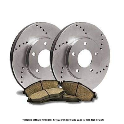 (Front Rotors + Ceramic Pads)-Cross Drilled-(Fits:-2007 07 VW Beetle Convertible Models w\288mm Diameter Front Rotors)