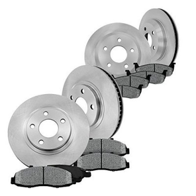 [ Base V6 Coupe Convertible] FRONT 293 mm + REAR 300 mm Premium OE 5 Lug [4] Rotors + [8] Metallic Brake Pads