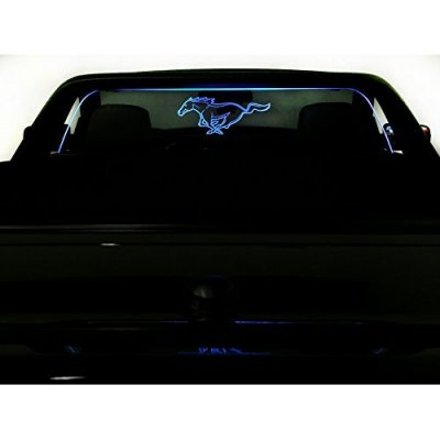 2005-2009 Ford Mustang Convertible Wind Deflector - Control air flow, cut down backdraft, wind noise - Ford Licensed, Patented - Easy Install, Secure Mounting - Laser-Etched Design - Blue Lighting