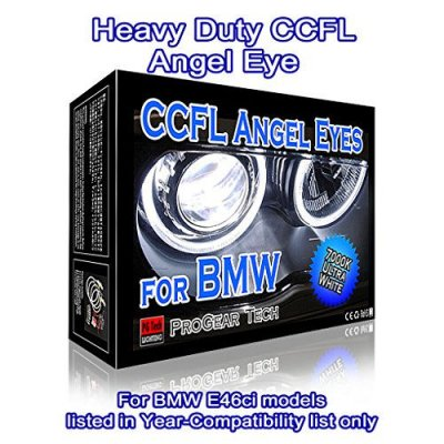 Heavy Duty CCFL Angel Eyes Halo Rings DRL for E46 Ci (04-06) facelift Coupe Convertible with Projector headlight 106 mm X 4 (7000K True White)