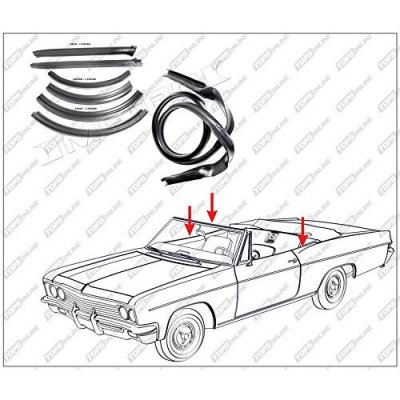 1962 thru 1965 Dodge Coronet, Dart, & Polara--7 Piece Convertible Top Frame Weather Seals Kit