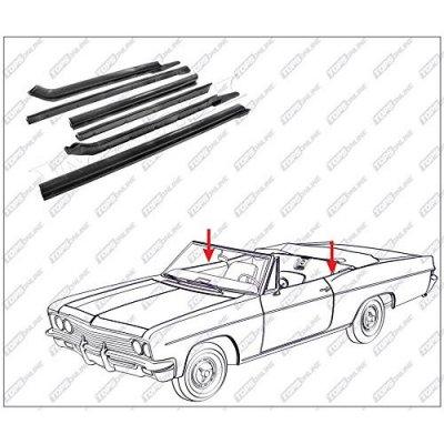 1966 thru 1970 Oldsmobile Delmont 88, Delta 88, & Dynamic--6 Piece Convertible Top Frame Weather Seals Kit