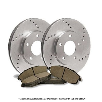 (Front Rotors + Semi-Met Pads)-Cross Drilled-(Fits:-2008 08 Chrysler Sebring Convertible Models)