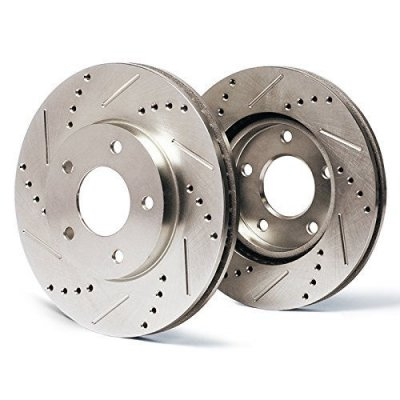 Rear Premium Slotted & Drilled Rotors SY087732 | Fits: 2000 00 Chrysler Sebring JXi Convertible Models