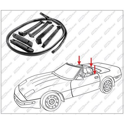 1986 thru 1996 Chevy Corvette--7 Piece Convertible Top Frame Weather Seals Kit