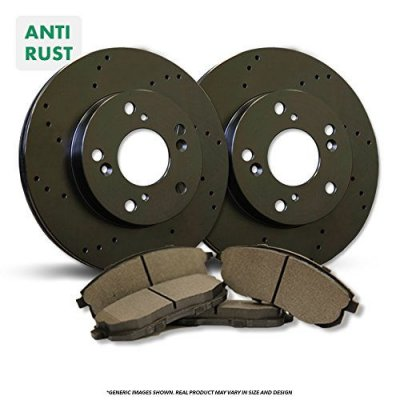 Rear Rotors + Semi-Metallic Pads^^-Black Zinc Drilled^^-Fits:-1996 96 Chrysler Sebring JX Convertible Models