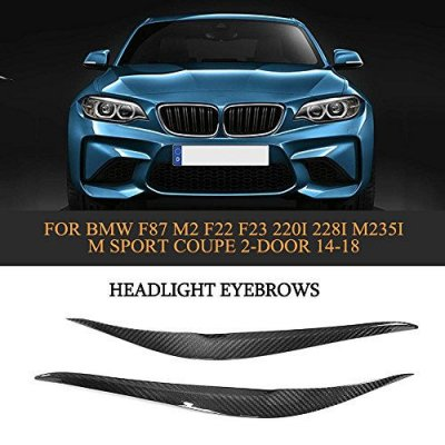 MCARCAR KIT For BMW 2Series F87 M2 F22 F23 220i 228i M235i M Sport Coupe Convertible 2014-2018 Factory CNC Moulding Dry Carbon Fiber Front Head Lamps Cover Eyelid Light Eyebrows