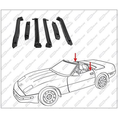 1986 thru 1996 Chevy Corvette--6 Piece Convertible Top Frame Weather Seals Kit