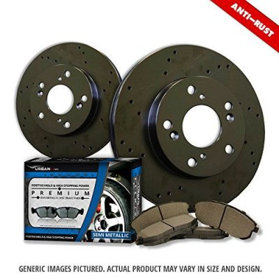 (Rear Rotors + Semi-Met Pads)-Black Zinc Drill-(Fits:-2009 09 Chrysler Sebring Convertible 3.5L Limited Models w\302mm Diameter Rear Disc Rotors)