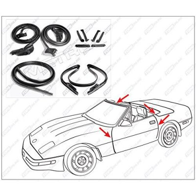 1990 thru 1996 Chevy Corvette (C4)--10 Piece Convertible Model Weather Seals Kit