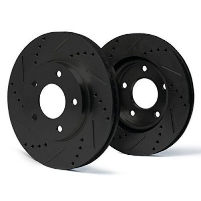 Rear [ELITE SERIES] Black Anti-Rust Slotted & Drilled Rotors SY071282 | Fits: 2009 09 Chrysler Sebring Convertible 3.5L Limited Models w\302mm Diameter Rear Disc Rotors