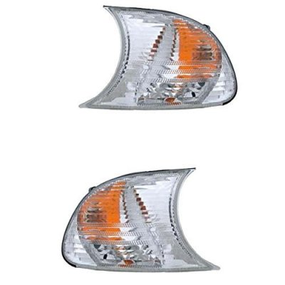 2000-2001 BMW 3-Series (E46 2-Door Coupe & Convertible Models Only) 323Ci 325Ci 328Ci 330Ci M3 Clear Lens Corner Park Light Turn Signal Marker Lamp Pair Set Left Driver AND Right Passenger Side (00 01)